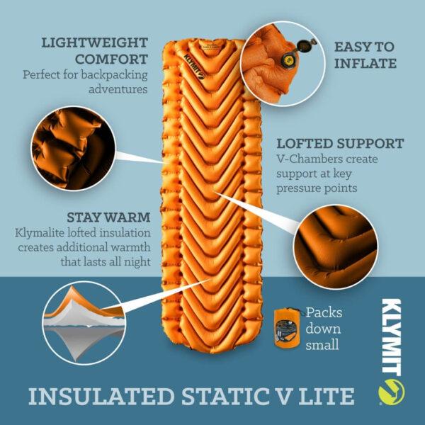 Klymit Insulated Static V Lite letvægtig liggeunderlag