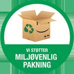 Vi støtter miljøvenlig pakning mærke